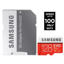 Samsung Micro SD Evo Plus 128GB 100MB/s + Adapter geheugenkaart
